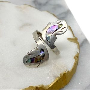 Vintage Sterling Silver Abalone Adjustable Ring